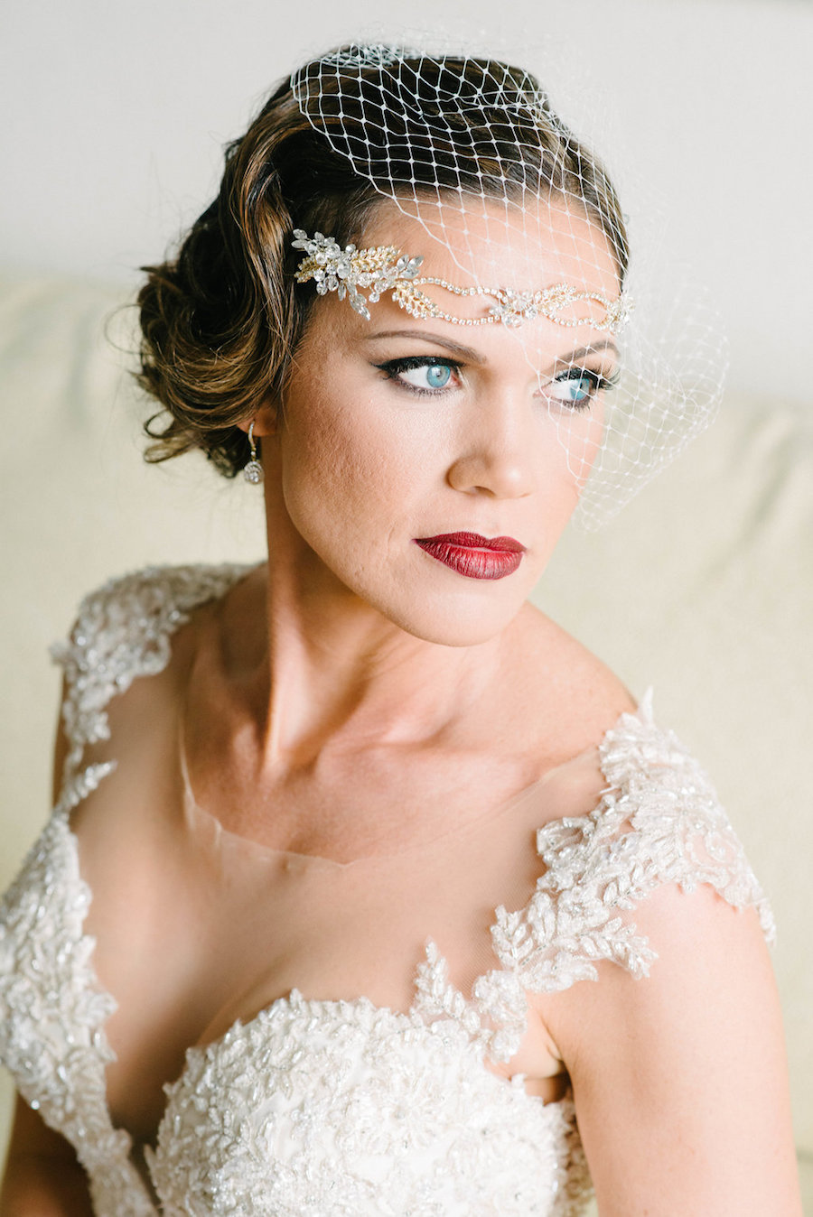 Bride with Lace Beaded Martina Liana Gown and Vintage Gold Rhinestone Headpiece and Birdcage Veil Wedding Portrait