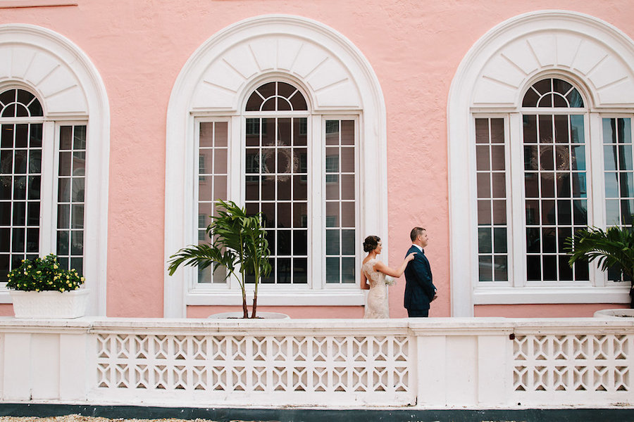 Outdoor Bride and Groom First Look Wedding Portrait   St. Petersburg Wedding Venue The Don CeSar   Tampa Bay Wedding Photographer Jonathan Fanning Studio and Gallery