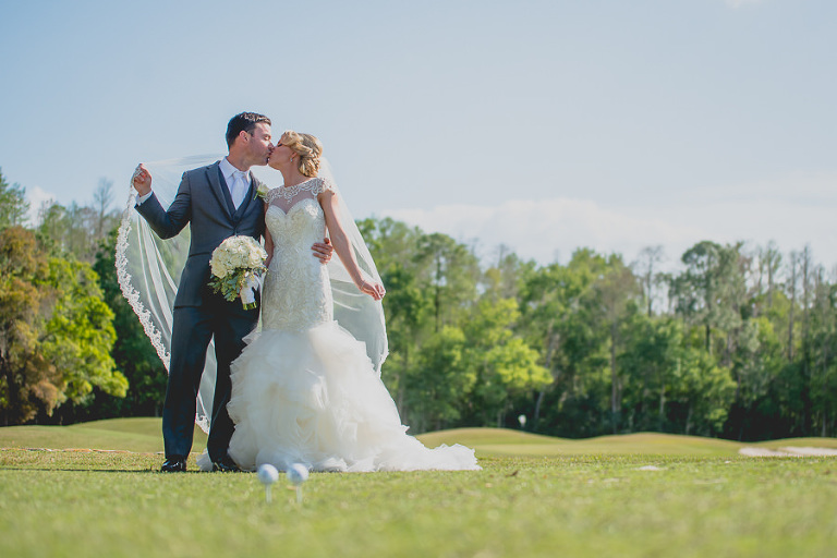 Outdoor Bride and Groom Wedding Portrait | Oldsmar Palm Harbor Wedding Venue East Lake Woodlands Country Club