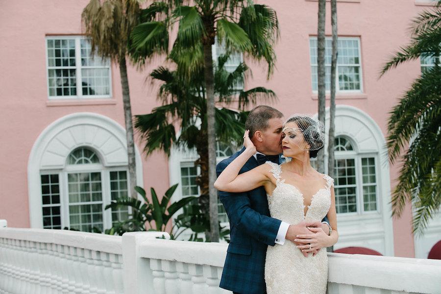 Outdoor Bride and Groom Wedding Portrait   St. Petersburg Wedding Venue The Don CeSar   Tampa Bay Wedding Photographer Jonathan Fanning Studio and Gallery