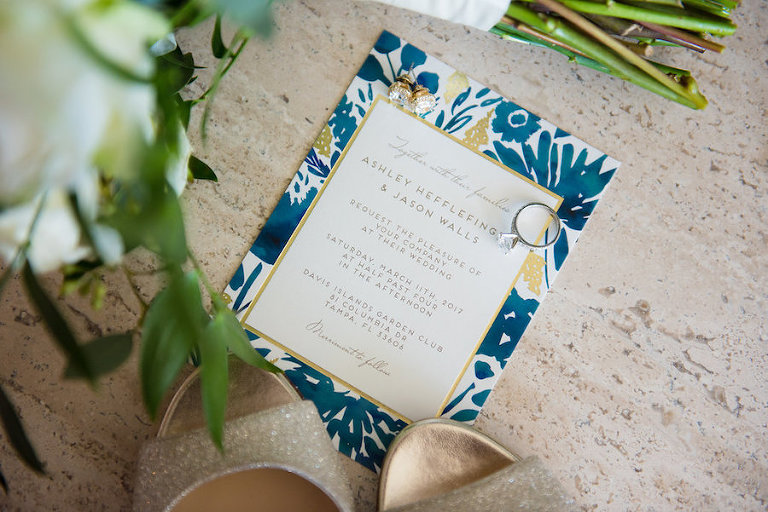 Navy and Gold Vintage Garden Party Wedding Invitation | Tampa Wedding Photographer Kera Photography
