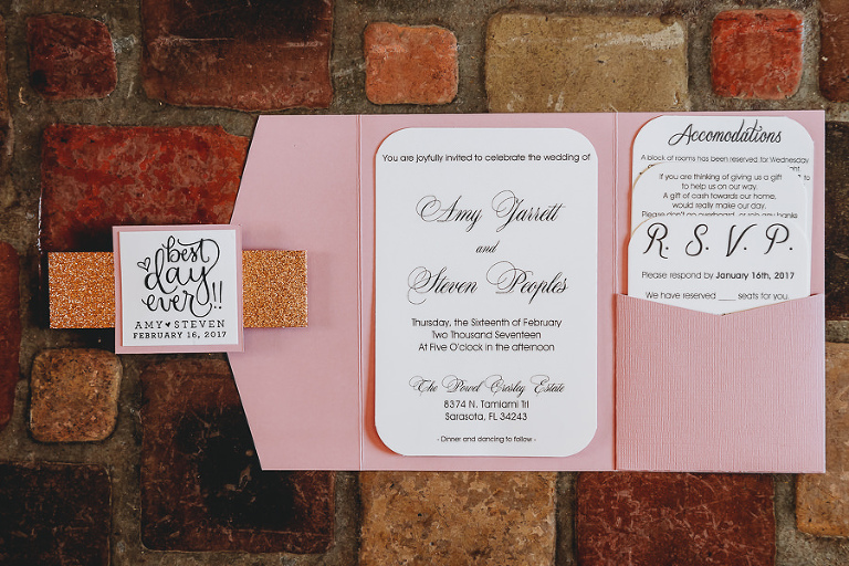 Pink Wedding Invitation Suite with Gold Glitter Belly Band and Black and White Invites
