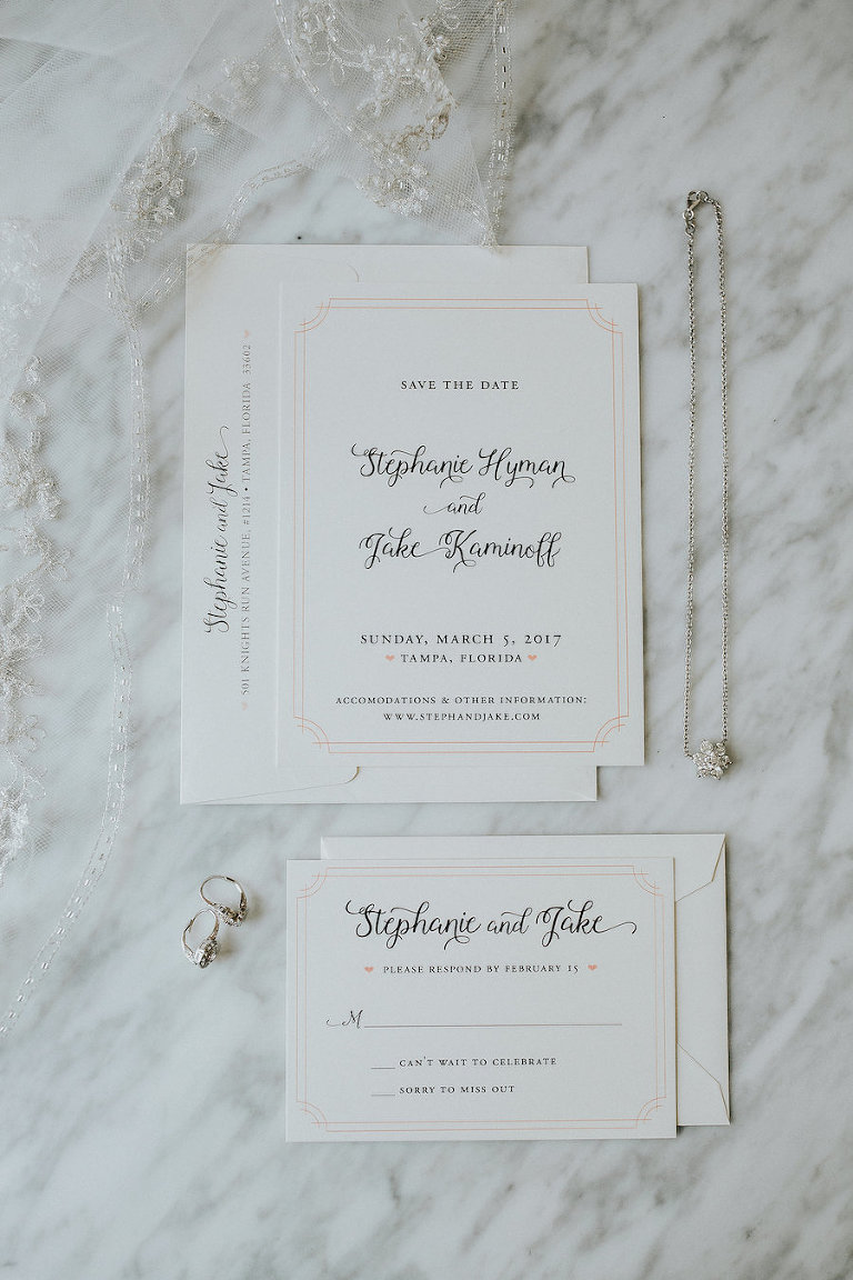 Elegant, Clean Traditional White and Gold Wedding Invitation Suite