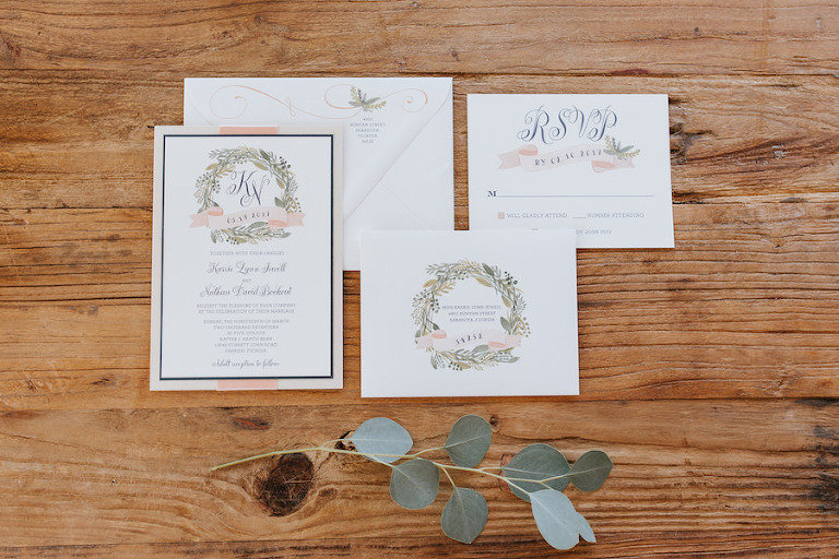 Blush, White and Greenery Rustic Chic Wedding Invitation Suite
