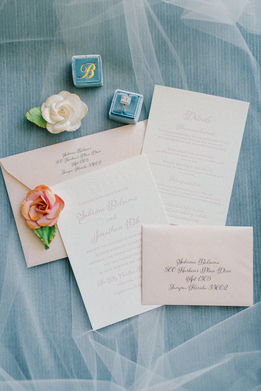 Blush Pink and Cream Wedding Invitation Suite by Tampa Wedding Invitations Designers A&P Design Co