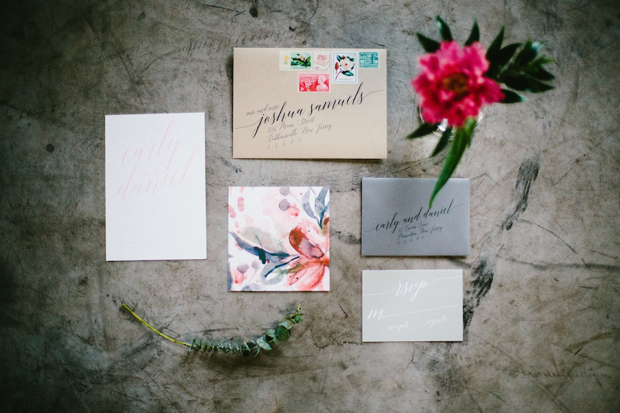 Modern Watercolor Bohemian Invitation Suite with Modern Calligraphy Envelope