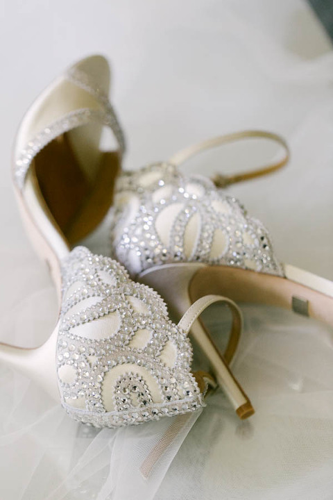 Ivory Satin and Rhinestone Bridal Heel Sandals | Tampa Bay Wedding Videographer Hatfield Productions