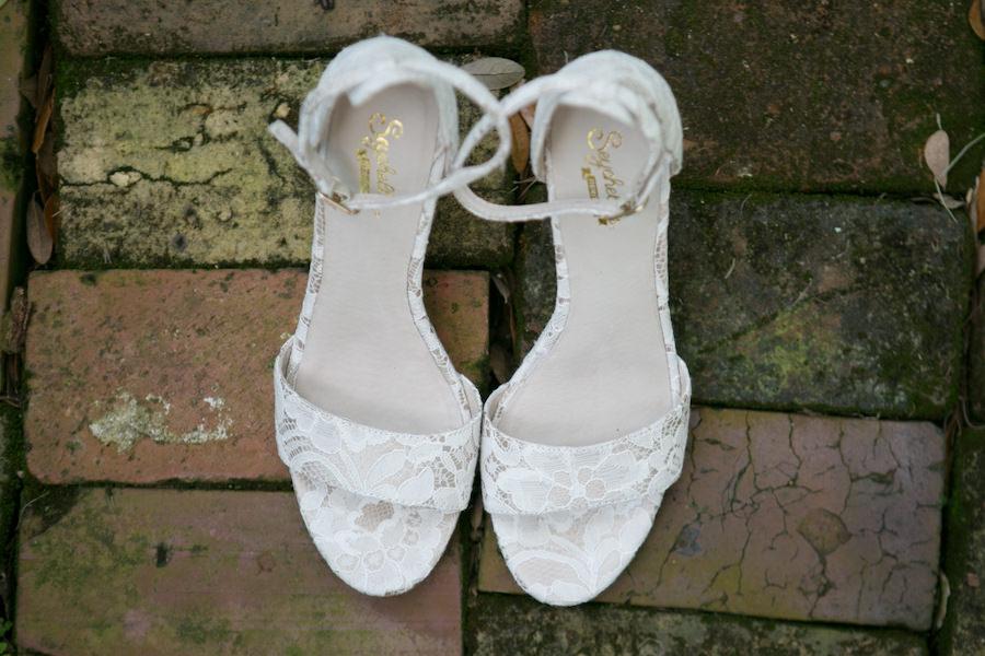 White Peep Toe Lace Bridal Wedding Shoes