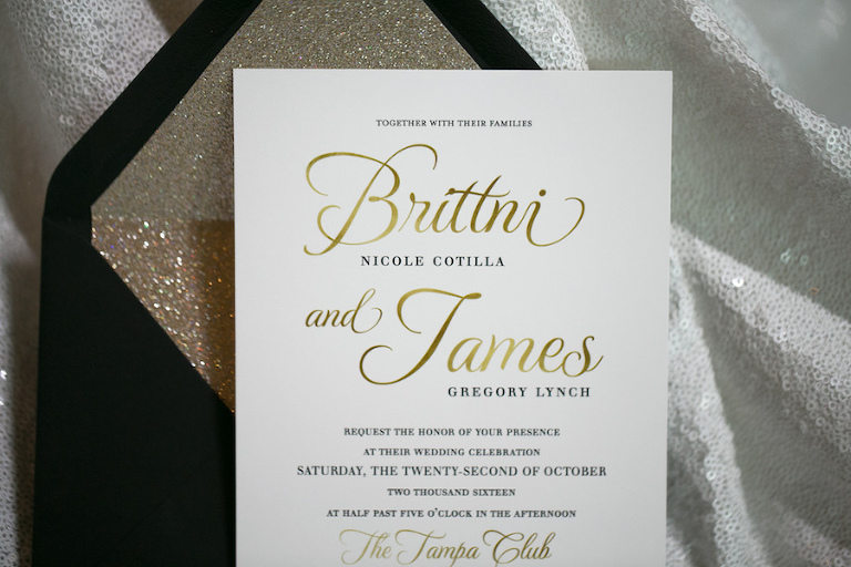 Black and Gold Wedding Invitation with Black and Gold Glitter Envelope | Tampa Bay Letterpress Invitation & Stationery Designer A & P Designs | Tampa Bay Wedding Photographer Carrie Wildes Photography