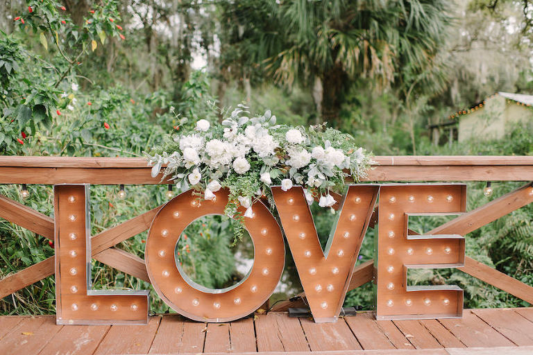 Rustic Wedding Decor LOVE Marquee Letters with Ivory Roses and Eucalyptus Cascading Floral Centerpiece