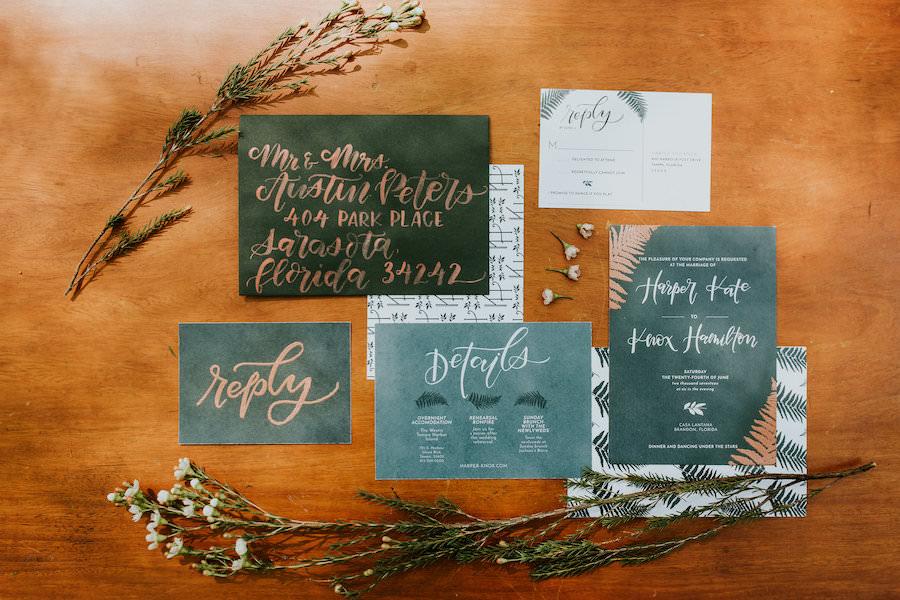 Hunter Green Wedding Invitation Suite with Gold Calligraphy   Retro Vintage Boho Wedding Inspiration  
