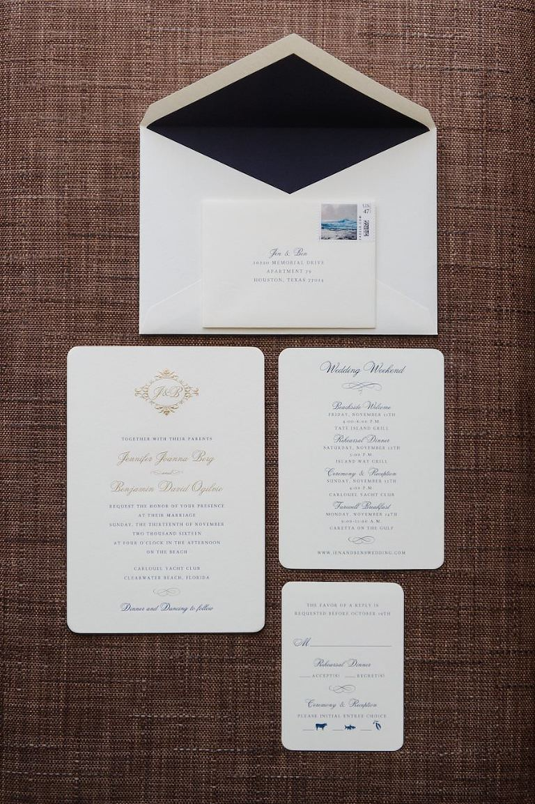 Traditional White Wedding Invitation Suite with Gold Script and Black Envelope Liner