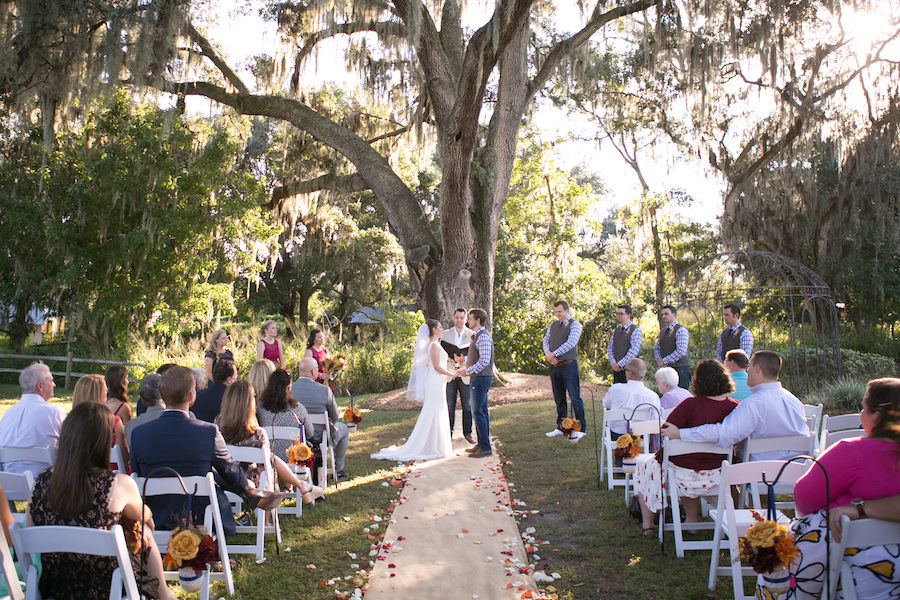 Bride and Groom Outdoor Wedding Ceremony Portrait at Cross Creek Ranch | Tampa Bay Wedding Photographer Carrie Wildes Photography