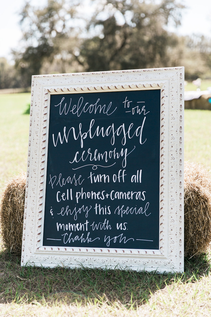 Unplugged Wedding Chalkboard Sign with Hay Bale   Rustic, Country Wedding Inspiration