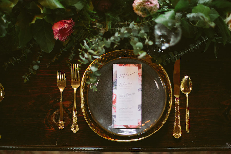 Florida, Modern Bohemian Inspired Styled Shoot | Vintaged Wooden Sweetheart Table with Greenery Garland Decor and Gold Flatware and Charger Plates with Watercolor Menu Card | Tampa Bay Wedding Planner Glitz Events