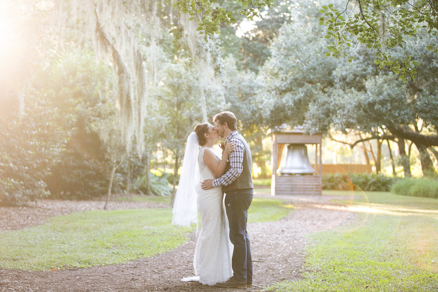 Bride and Groom Natural Light Outdoor Wedding Portrait at Cross Creek Ranch | Tampa Bay Wedding Photographer Carrie Wildes Photography