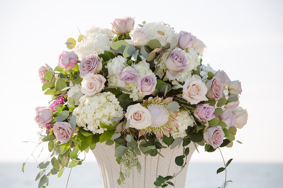 White and Blush Pink Dusty Rose Wedding Ceremony Floral Arrangement with White Ivory Hydrangeas with Greenery | Clearwater Beach Wedding Planner Parties a la Carte
