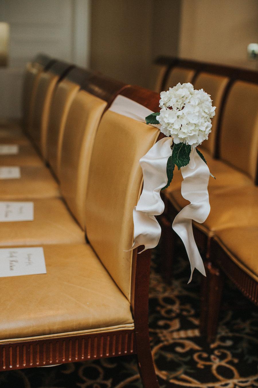 Elegant White Hydrangea Wedding Ceremony Aisle Flowers and Decor