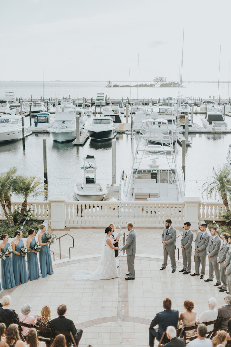 Tampa Bay Waterfront Wedding Ceremony at Westshore Yacht Club | South Tampa Wedding Venue Westshore Yacht Club | Tampa Bay Wedding Videographer Bonnie Newman Creative | Tampa Bay Wedding Florist Wonderland Floral Art