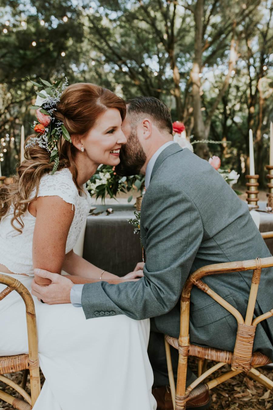 Bride and Groom Wedding Portrait   Retro Vintage Boho Wedding Inspiration   Planner Glitz Events   Outdoor Venue Casa Lantana