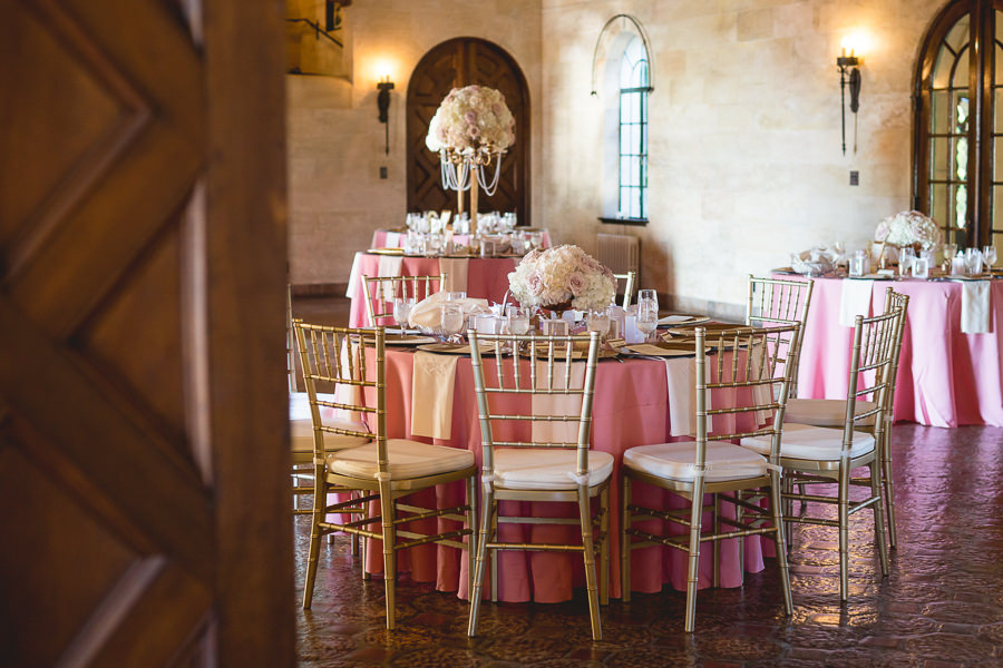 Gold Wedding Reception Decor With Tall Gold Centerpieces Glass Top