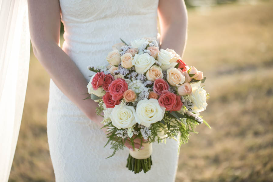 Ivory, Peach and Pink Rose Wedding Bridal Bouquet   Tampa Bay Wedding Videographer Hatfield Productions