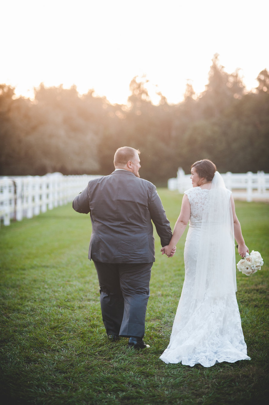 Outdoor Dade City Bride and Groom Wedding Portrait in Ivory, Lace Gown with Veil | Dade City Wedding Venue The Lange Farm