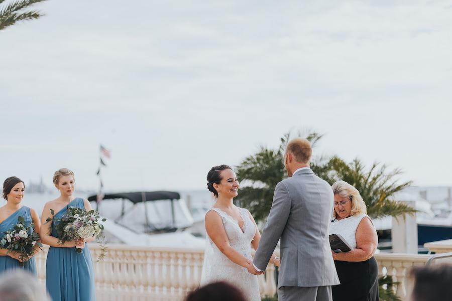 Tampa Bay Waterfront Wedding Ceremony at Westshore Yacht Club | South Tampa Wedding Venue Westshore Yacht Club | Tampa Bay Wedding Videographer Bonnie Newman Creative | Tampa Bay Wedding Florist Wonderland Floral Art