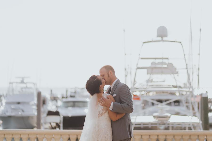 Bride and Groom Waterfront Wedding Portrait at Westshore Yacht Club | South Tampa Wedding Venue Westshore Yacht Club | Tampa Bay Wedding Videographer Bonnie Newman Creative