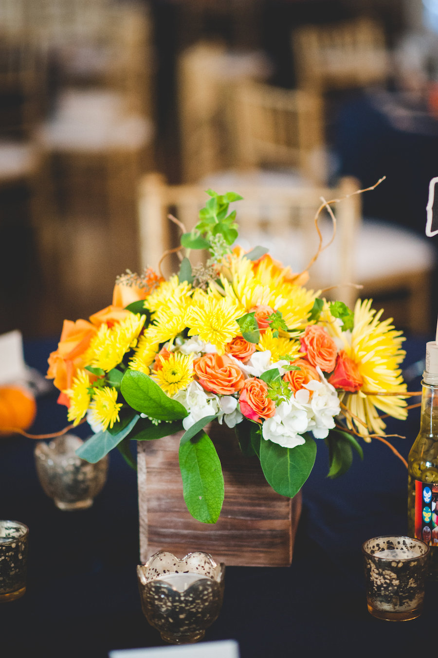 Rustic, Elegant Wedding Table Centerpieces with Orange, Yellow and Green Florals in Wooden Boxes