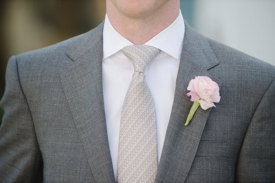 Grey Groom's Suit and Tie with Blush Pink Wedding Boutonnière