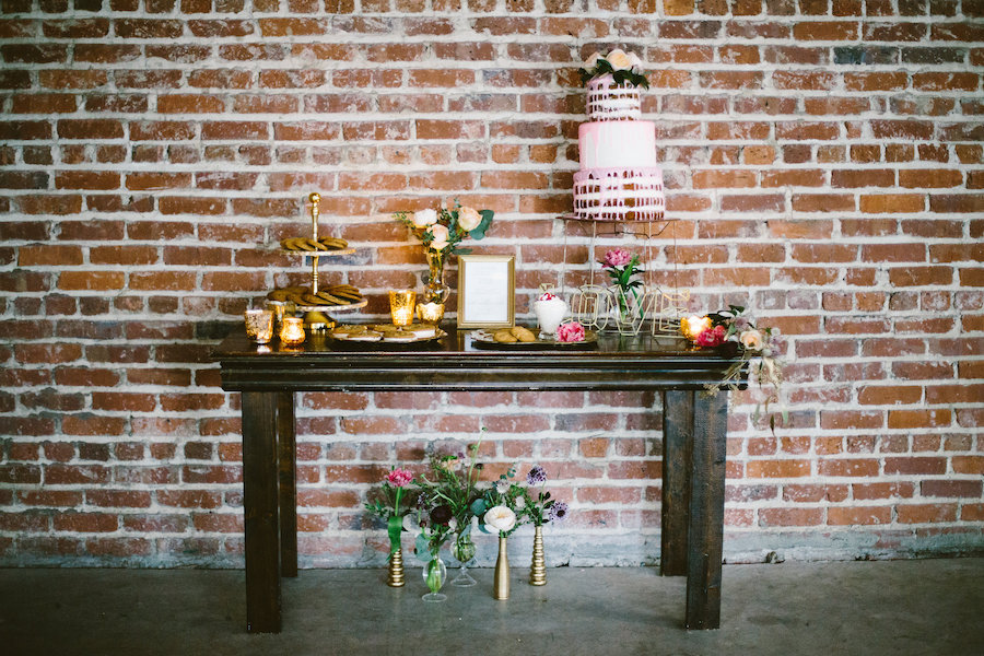 Florida, Modern Bohemian Inspired Styled Shoot Dessert Table with Cookies and Three Tiered Naked Cake | Vintaged Wooden Dessert Table | Tampa Bay Wedding Planner Glitz Events