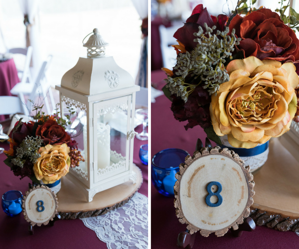 Outdoor Tampa Bay Barn Wedding Reception at Cross Creek Ranch with Merlot Tablecloths and Lantern Decor | Tampa Bay Wedding Photographer Carrie Wildes Photography