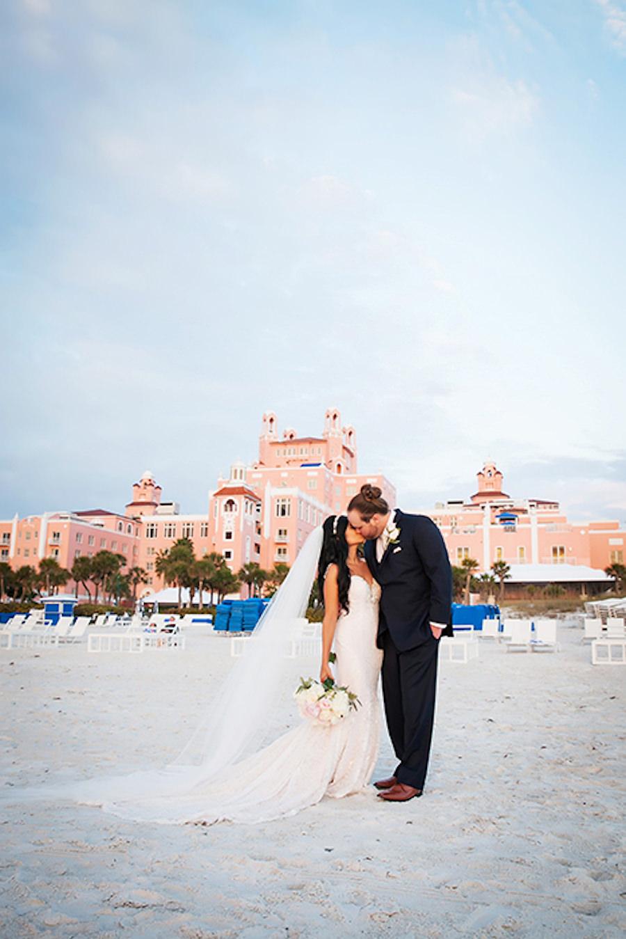 Bride and Groom Beach Wedding Portrait at St Pete Beach Wedding Venue The Don Cesar | St Petersburg Wedding Photographer Limelight Photography