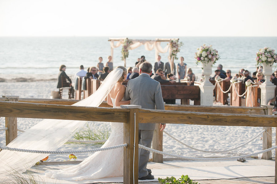 Bride Walking Down the Aisle with Father | Waterfront Clearwater Beach Ceremony | Planner Parties a la Carte | Photographer Marc Edwards Photographs