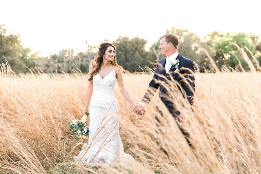 Bride and Groom Wedding Portrait at Outdoor Tampa Bay Wedding Venue   Rustic, Country Wedding Inspiration