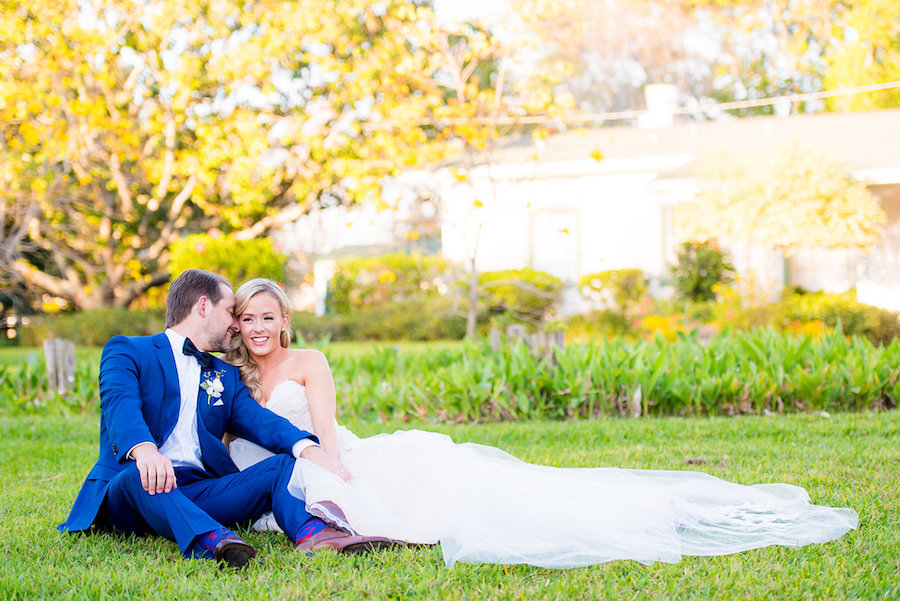 Bride and Groom Wedding Day Portrait in Navy Suit and Ivory Lace Alvina Valenta Wedding Dress | Tampa Wedding Photographer Kera Photography