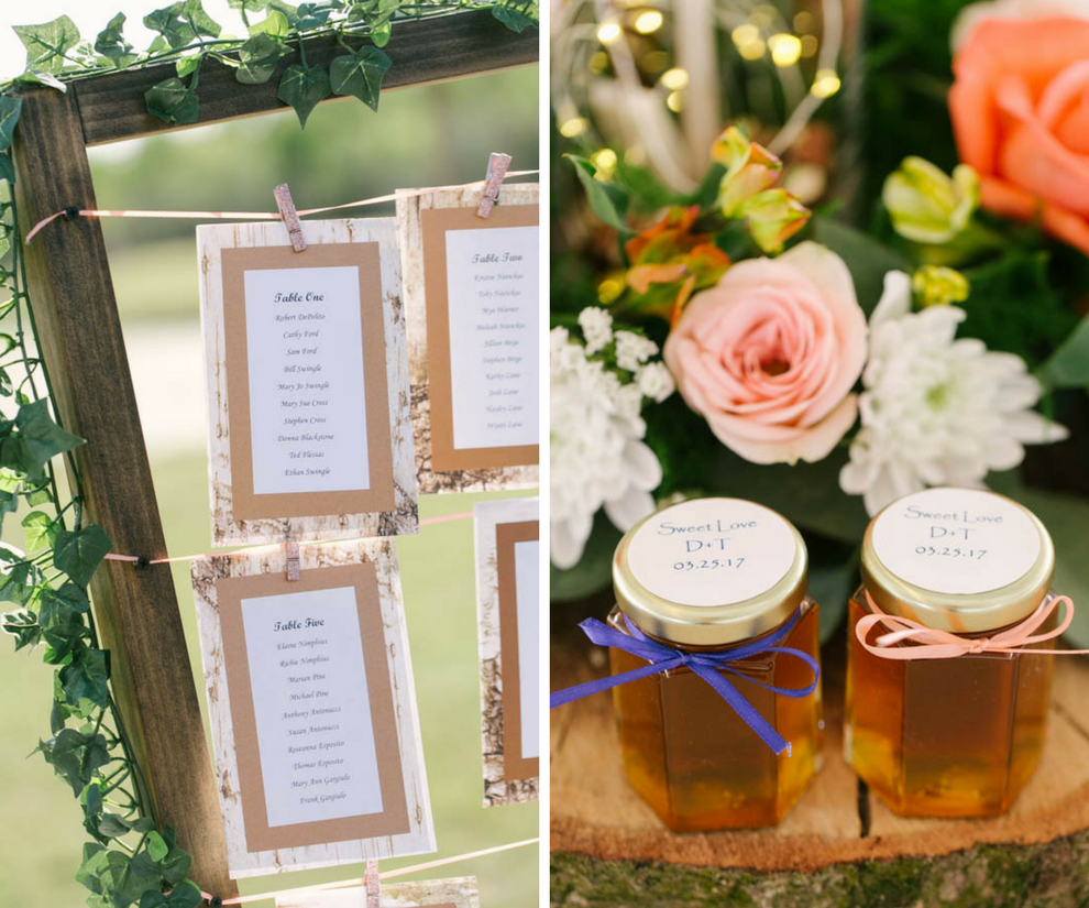 Wedding Reception Decor and Inspiration: Honey Jar Favors and Rustic Seating Chart