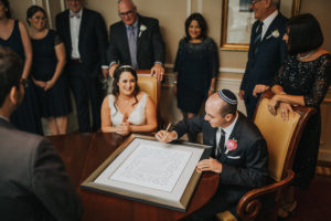 Bride and Groom Jewish Wedding Ceremony Ketubah Signing | Downtown Tampa Wedding Photographer Rad Red Creative