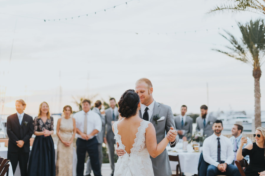Outdoor Tampa Bay Bride and Groom Wedding First Dance Portrait at Westshore Yacht Club | South Tampa Wedding Venue Westshore Yacht Club | Tampa Bay Wedding Videographer Bonnie Newman Creative