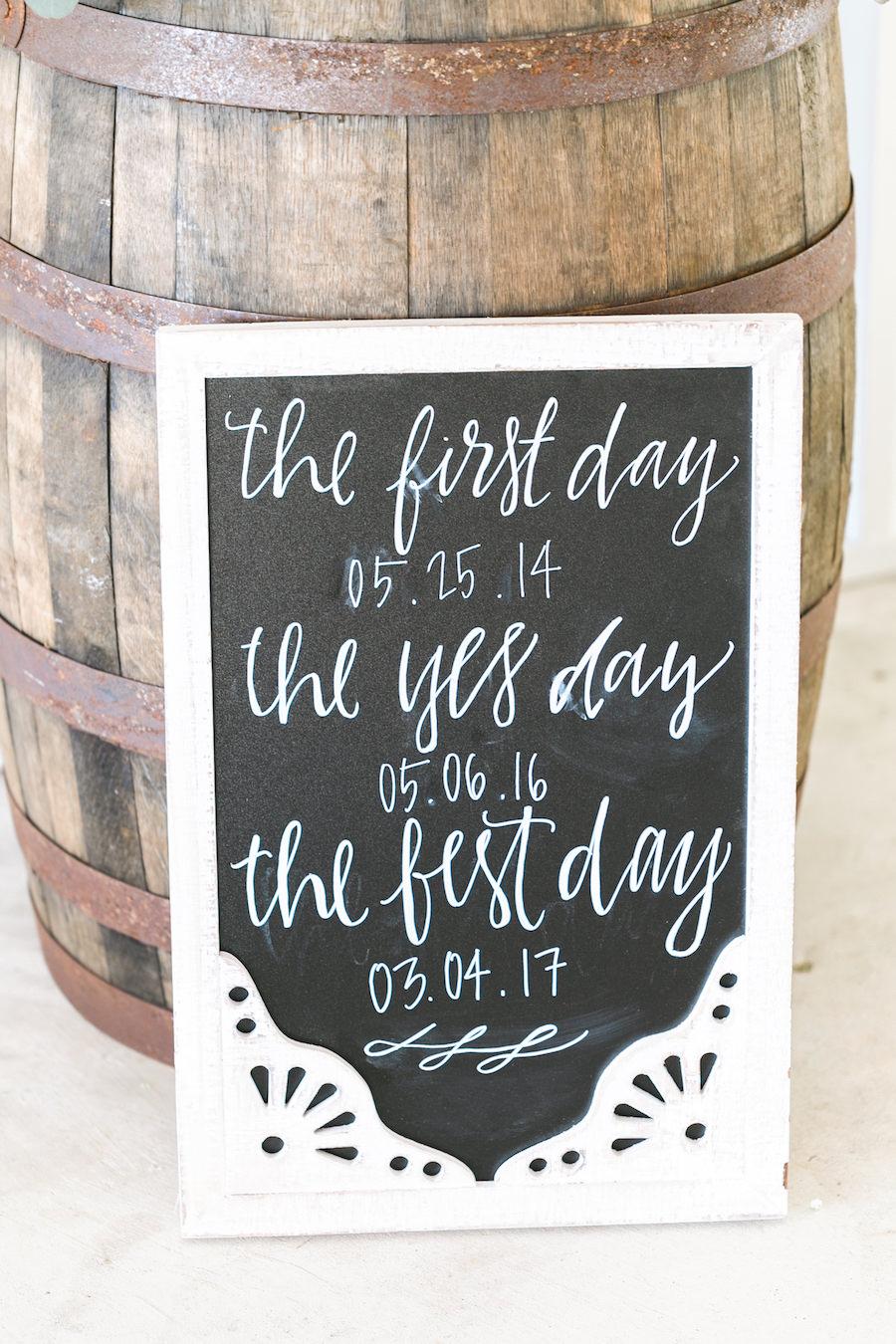 Wedding Reception Chalkboard Sign with Oak Barrel   Rustic, Country Wedding Inspiration