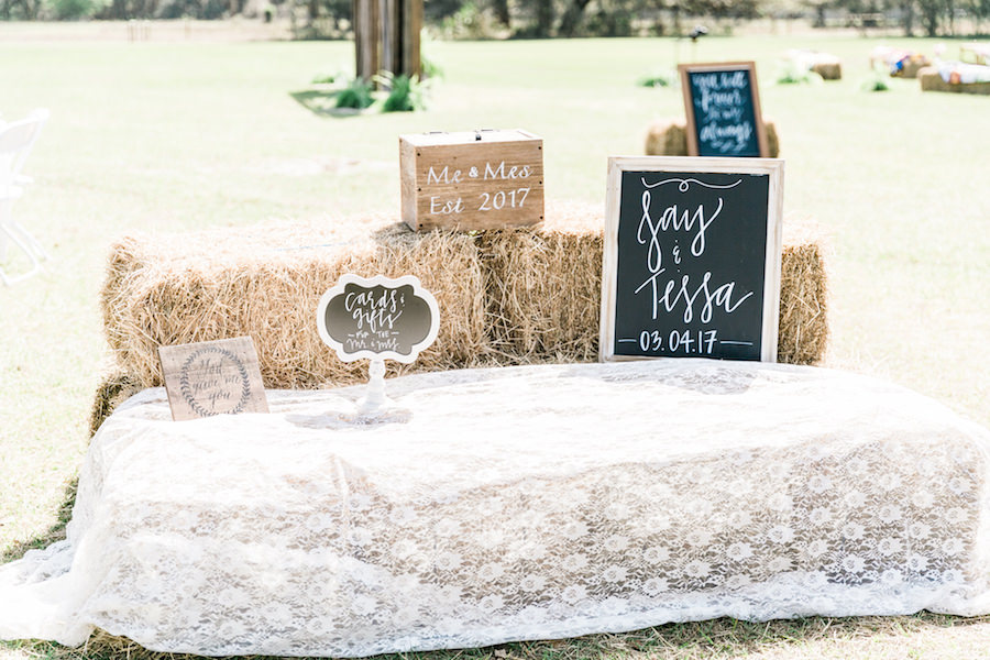 Wedding Reception Chalkboard Sign with Hay Bale   Rustic, Country Wedding Inspiration   Unique Guestbook Ideas