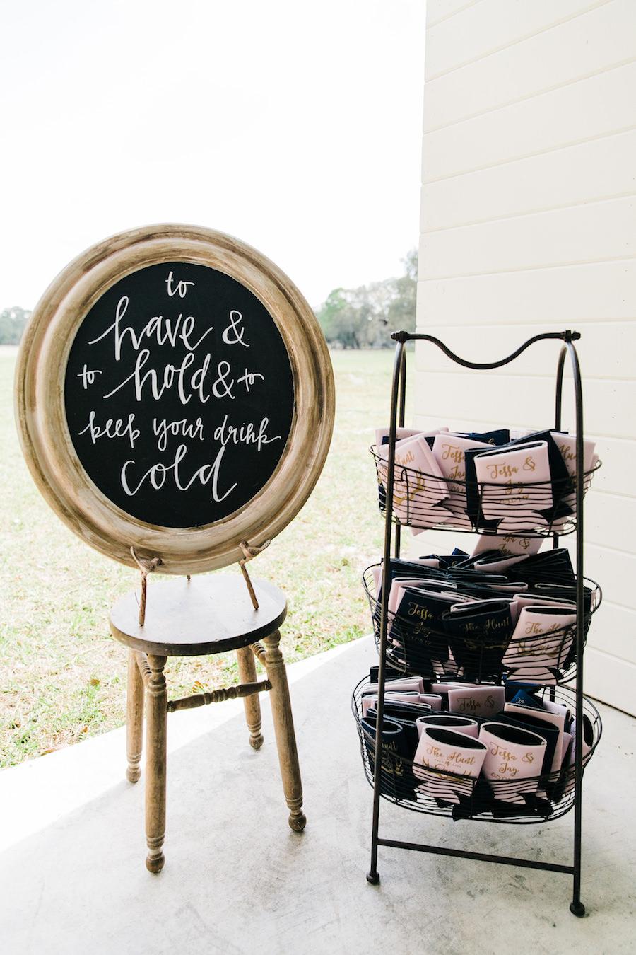Wedding Reception Chalkboard Sign   Rustic, Country Wedding Inspiration   Unique Drink Station Koozie Wedding Favor Ideas