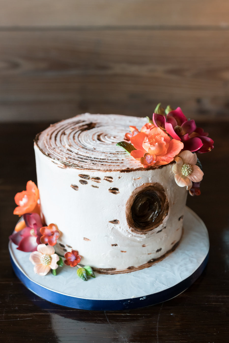 Wedding Dessert Table Ideas with Small Birchwood Wedding Cake with Sugar Flowers by Alessi Bakery