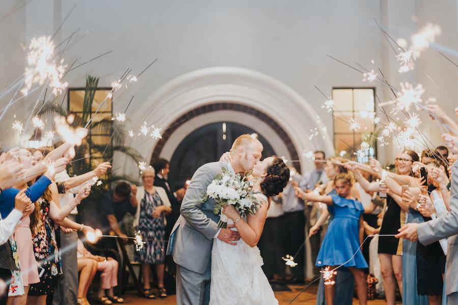 Bride and Groom Wedding Reception Sparkler Exit at South Tampa Wedding Venue Westshore Yacht Club