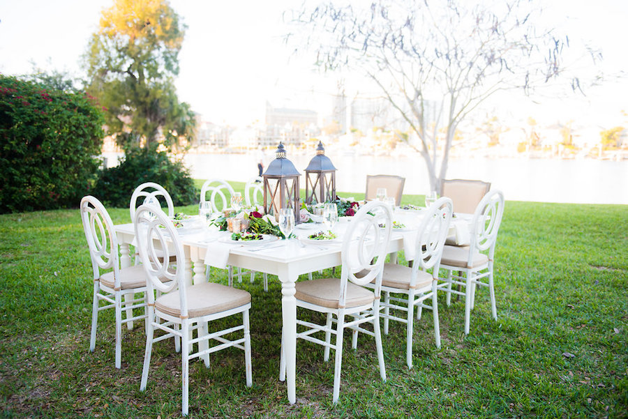 Outdoor Garden Party Wedding Decor With Lantern Wedding Centerpieces