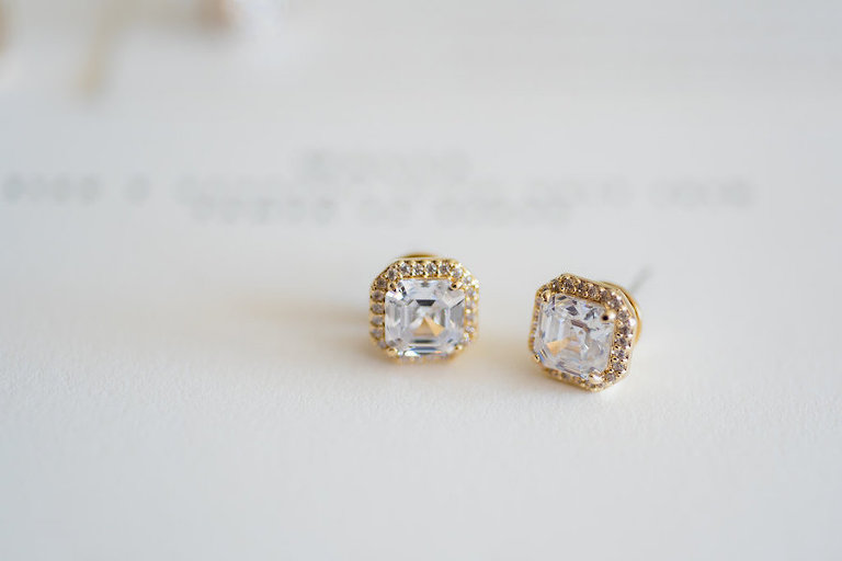 Diamond Cushion Cut Stud Earrings with Yellow Gold Halo | Gold Diamond Wedding Jewelry | Tampa Wedding Photographer Kera Photography