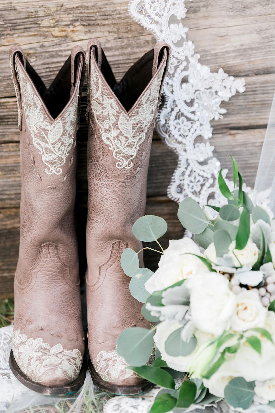 Pink Cowboy Boots with Lace Wedding Veil