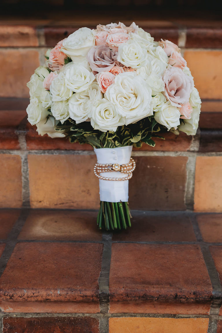 White Rose with Purple Lavender and Peach Wedding Bouquet