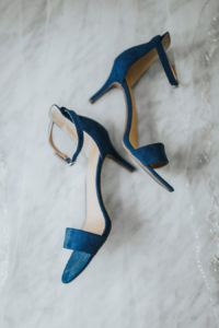 Blue Open Toe Strappy Wedding High Heel Shoes